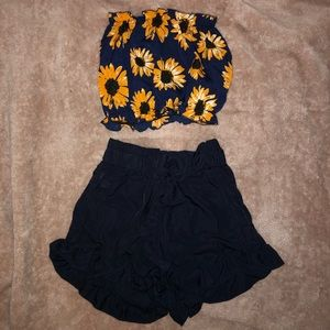 Shein Set Bandeau top and cute shorts. NEW